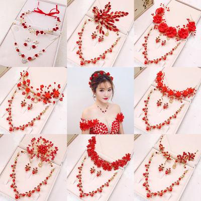 新款红色新娘头饰敬酒服饰中式结婚婚庆三件套韩式边夹头花配饰品