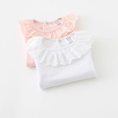 女宝宝长袖T恤春秋纯棉打底衫娃娃领上衣婴幼儿童装白色秋衣0-8岁