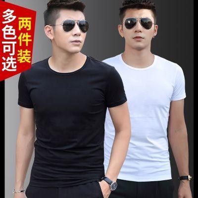 【买一送一】短袖t恤男打底衫圆领纯色黑色修身半袖夏装衣服体恤