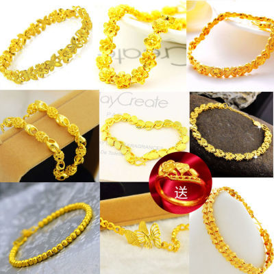 送戒指越南沙金手链黄金色手链女转运珠玫瑰花镀金手链不褪色首饰