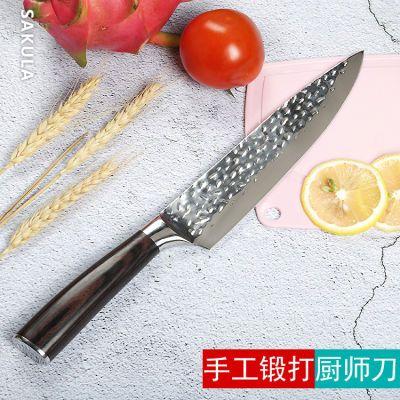 大马士革锤纹刀日式料理刀厨师刀刺身切片刀瓜果刀寿司生鱼片菜刀