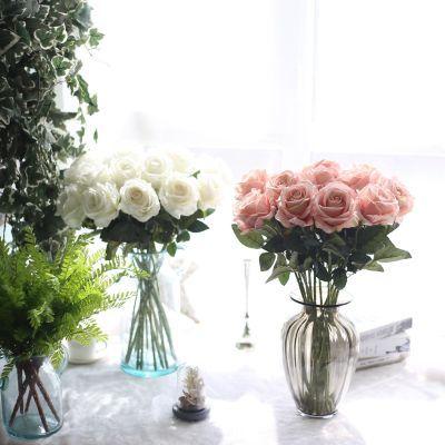 假花仿真花欧式单支玫瑰花摆件卧室房间客厅摆件家居装饰品摆设花