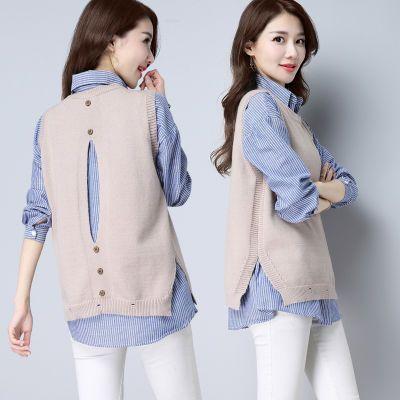大码女装显瘦条纹衬衫毛衣马甲背心女韩版宽松无袖针织衫两件套