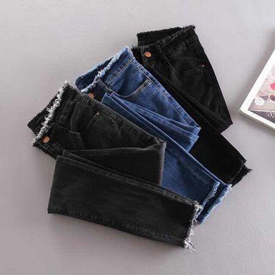 高弹力蓝色春夏季浅色铅笔牛仔裤女学生韩版高腰紧身小脚大码九分