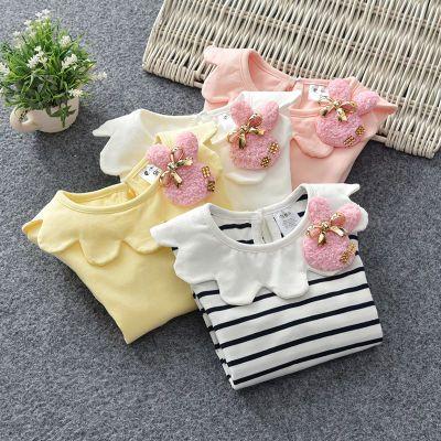 女童t恤女上衣女宝宝小衫纯棉娃娃领童装春秋长袖白色儿童打底衫
