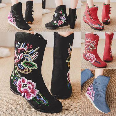 布靴子秋冬新款老北京布鞋加绒棉靴绣花短筒民族风日常百搭保暖靴