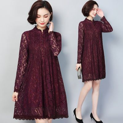 薄款/加绒秋冬新款打底外穿中长款大码宽松显瘦气质蕾丝连衣裙女