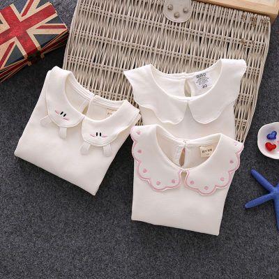女小童纯棉打底衫宝宝翻领娃娃领0-6岁婴幼儿春秋长袖T恤白色内搭