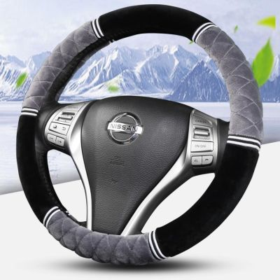 冬季新款方向盘套短毛绒通用型汽车把套防滑保暖方向盘毛绒三件套