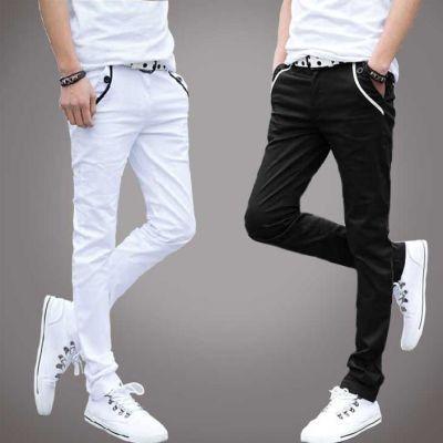 男士直筒休闲裤修身小脚长裤青年装弹力男裤韩版黑色布百搭长裤子