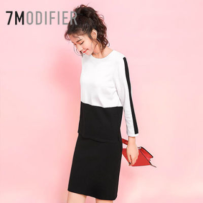7m秋新款宽松套头针织衫黑色包臀短裙套装女70009090
