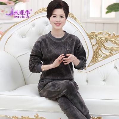 中老年女装加绒加厚金丝绒套装妈妈休闲装40-50岁两件套上衣裤子