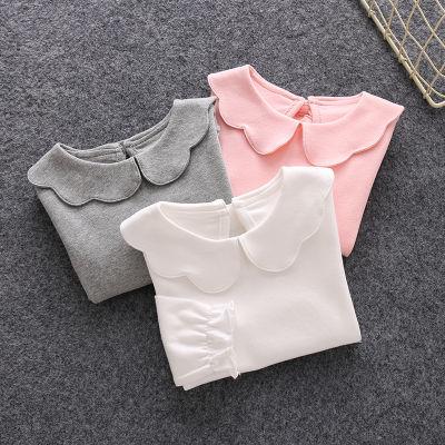 婴儿衣服秋装长袖翻领T恤打底衫弹力娃娃领秋季宝宝上衣纯棉0-1岁