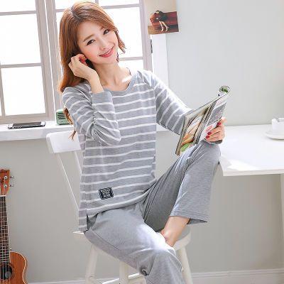 纯棉质睡衣女春秋长袖厚款韩版可外穿学生夏季可爱家居服两件套装