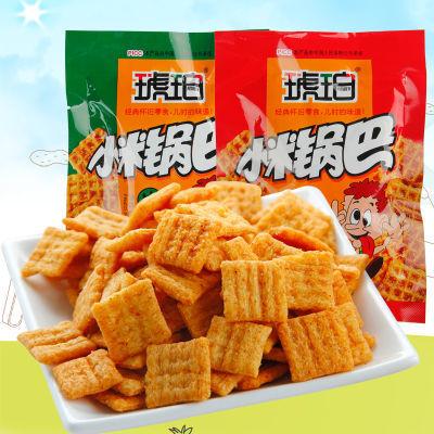 琥珀小米锅巴20包零食批发整箱麻辣味牛肉味小吃香脆膨化薯片500g