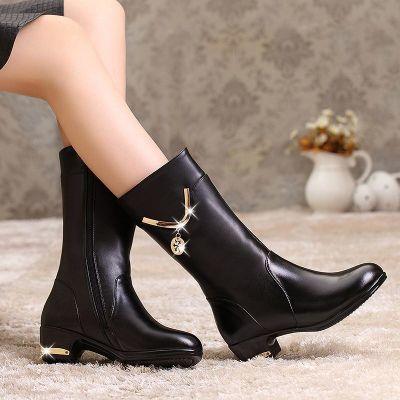 冬季新款头层牛皮妈妈鞋真皮中筒靴中跟女靴子平跟粗跟中靴子韩版