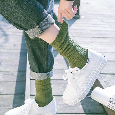 2/3/4双堆堆袜女秋冬日系百搭棉中筒袜韩国学院风长筒袜长袜子女