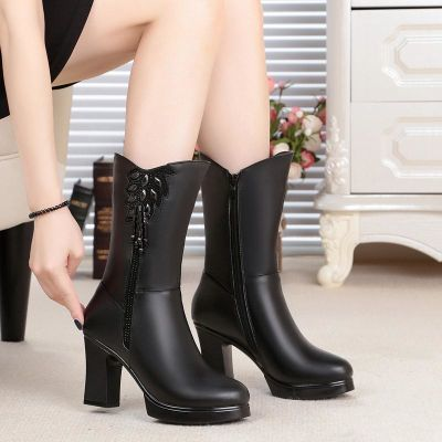 中筒靴真皮女靴子冬季新款女棉靴粗跟棉皮靴羊毛里女士高跟棉靴子