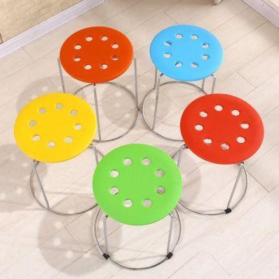 【四个包邮】钢筋凳子面板不锈钢矮��面家用圆形板凳面加厚八孔圆