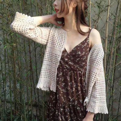 张子枫同款短款披肩镂空针织衫春夏文艺韩范七分袖修身女空调开衫