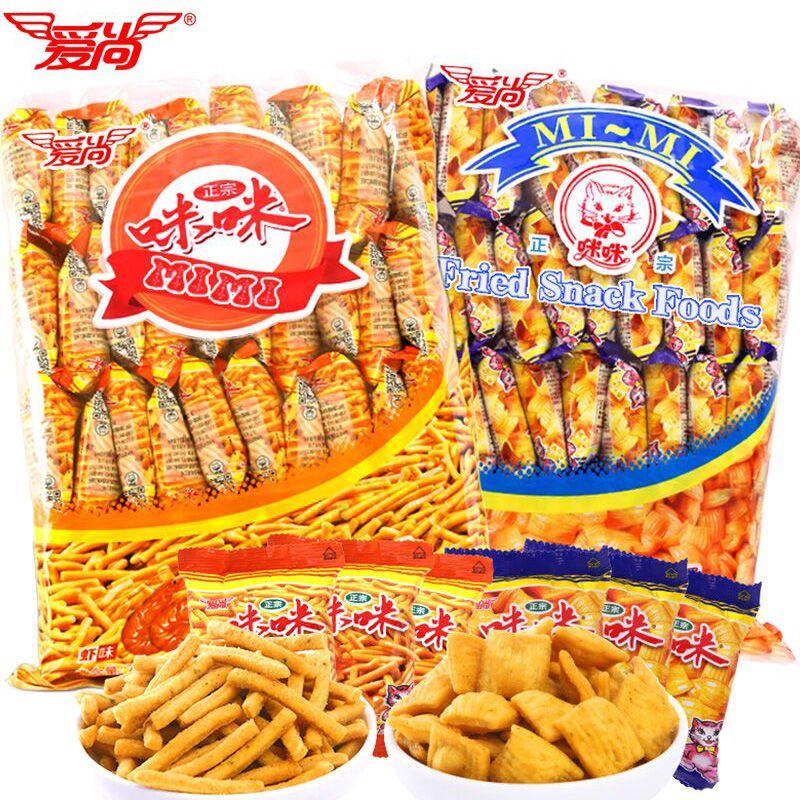 爱尚咪咪虾条80包10包薯条薯片一整箱大礼包儿童休闲零食小吃批发