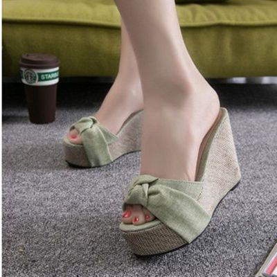 拖鞋女高跟厚底增高夏季防水台女士凉拖鞋新款坡跟凉鞋鱼嘴鞋韩版