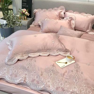 60支长绒棉纯色四件套全棉纯棉欧美风豆沙简约双人欧式床上用品