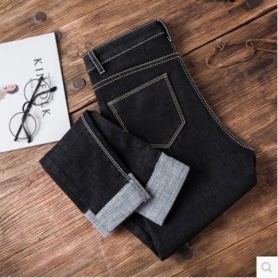 秋季新款韩版修身黑色牛仔裤女学生显瘦高腰弹力九分小脚铅笔裤春