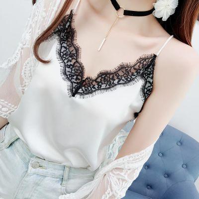 夏季韩版蕾丝性感小吊带女士背心睫毛V领宽松打底衫上衣可外穿