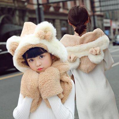 小熊帽子女秋冬韩版百搭新款2020网红保暖儿童帽连帽围巾手套一体