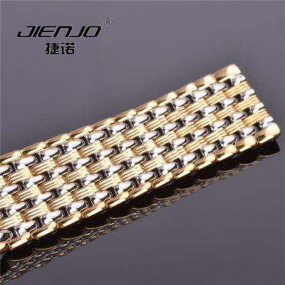 手表钢带实心男女款表带不锈钢蝴蝶扣表链12MM金色银色玫瑰金20MM