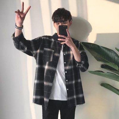 衬衫男长袖2020新款韩版修身中青年条纹男士衬衣秋季休闲潮流外套