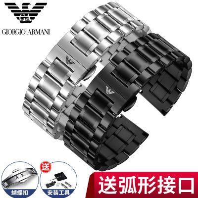 阿玛尼黑色钢带表带 蝴蝶扣ar1895 1968 男女不锈钢手表链18 22mm
