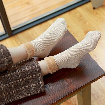 【1-4双装】雪天地板袜女彩棉中筒保暖月子袜冬季加绒加厚防寒袜