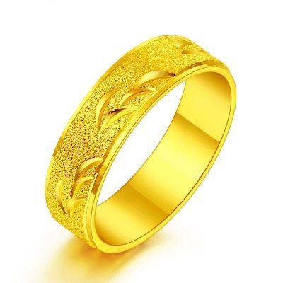 个性简约黄金色戒指男士时尚欧币饰品潮男戒指越南沙金指环