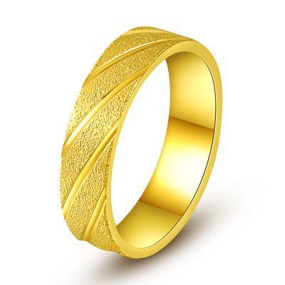 黄金色戒指情侣时尚饰品日韩个性简约潮男戒指越南沙金欧币指环