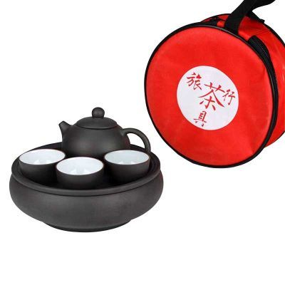 紫砂功夫茶具套装便携式旅行茶具户外车载整套旅游茶具泡壶小茶盘