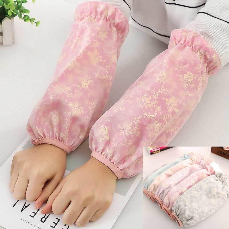 冬季双层蕾丝袖套女防脏护袖学生成人防污防水套袖网纱长短款袖头的细节图片2
