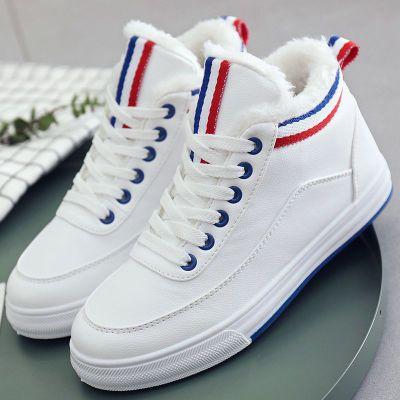 棉鞋女韩版冬季小白鞋学生保暖加绒皮面短雪地靴防水加厚运动女鞋