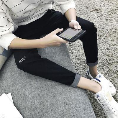 秋冬牛仔裤男学生14修身型15黑色16百搭九分裤17岁弹力男孩紧身裤
