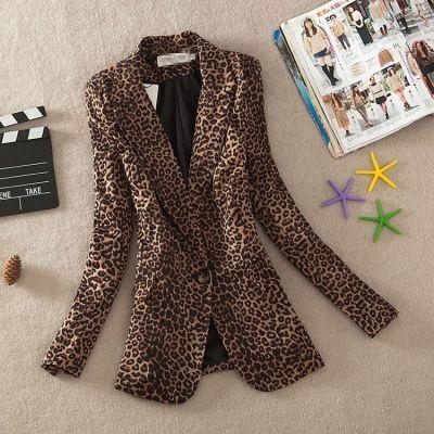 2020春秋装女长袖豹纹修身显瘦大码西服韩版OL通勤女士外套小西装