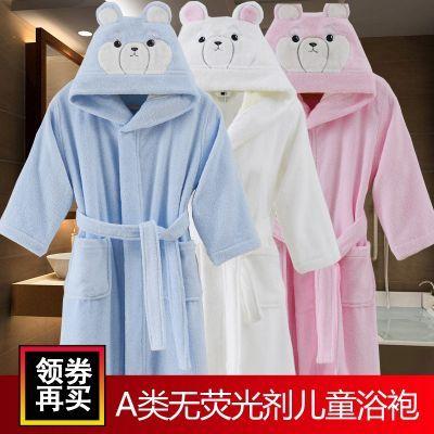 A类纯棉儿童浴袍男女孩夏季睡袍毛巾料带帽春秋季中大童洗澡吸水