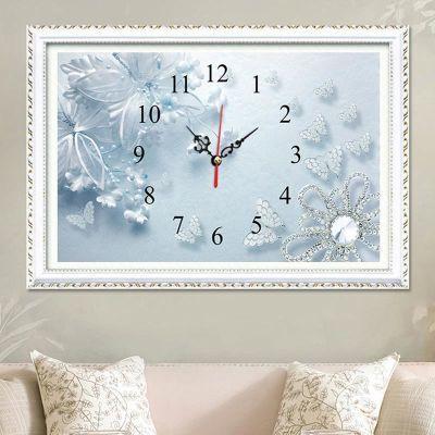 5d钻石画满钻石绣挂钟表贴钻十字绣2018新款客厅蓝色花卉简约时钟