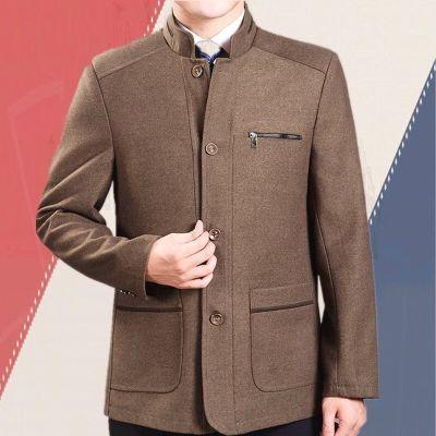 秋冬季中老年人男装毛呢外套爸爸秋装中年夹克男厚款呢子上衣宽松