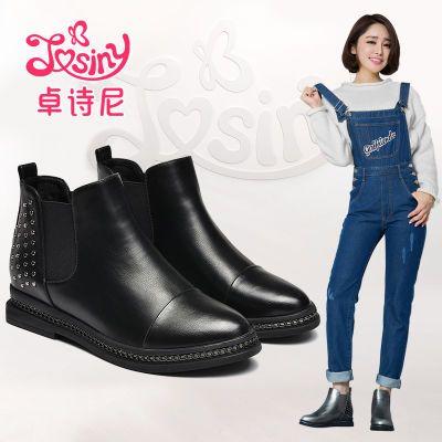 卓诗尼冬季新款圆头中跟女靴短筒加绒时尚裸及踝靴164172244