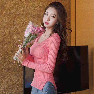 秋冬新款长袖打底衫紧身毛衣针织衫女套头纯色修身韩版侧开叉上衣