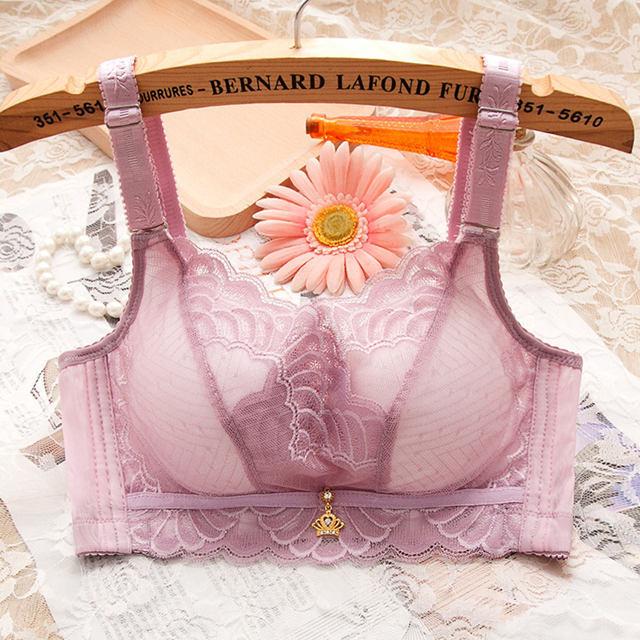 【丝玛】上托蕾丝无钢圈聚拢文胸内衣加厚女收副乳大码单件/套装