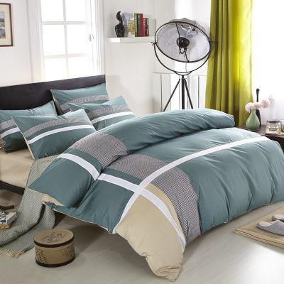全棉时尚休闲条纹四件套 全棉四件套床上用品男士纯棉被套床单