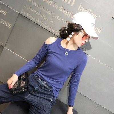 长袖T恤女春秋新款女装韩版百搭圆领漏肩显瘦休闲打底衫女上衣潮