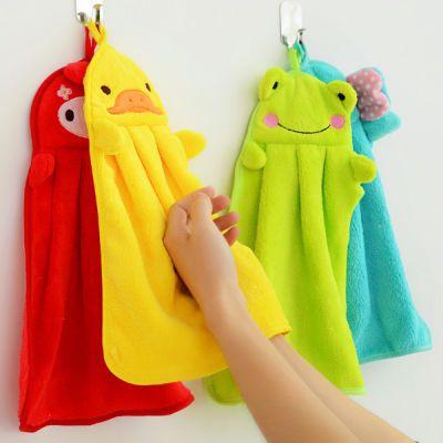2条装擦手巾挂式珊瑚绒厨房卫浴韩国卡通可爱吸水毛巾多色随机